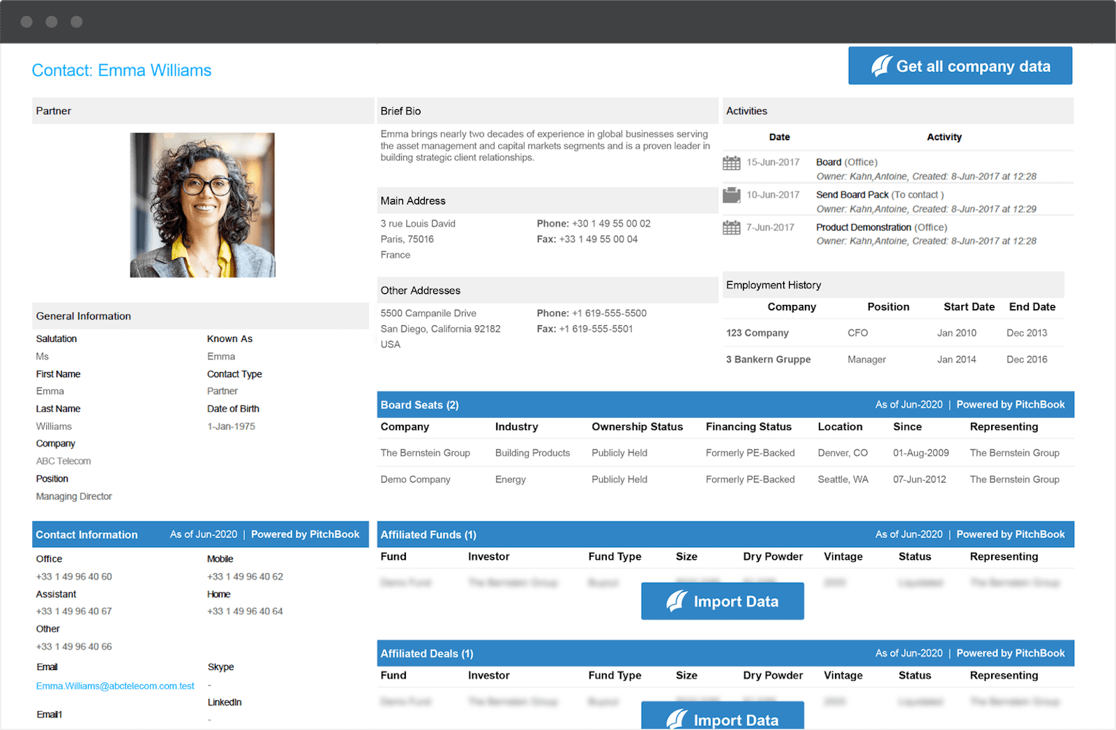 CRM contact page for Emma Williams showing data imported from PitchBook.